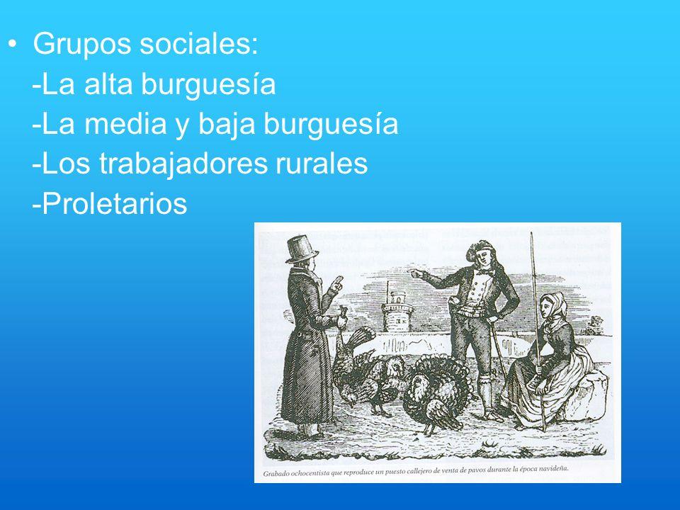Grupos sociales: -La alta burguesía. -La media y baja burguesía.