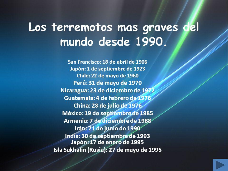 Los terremotos mas graves del mundo desde 1990.