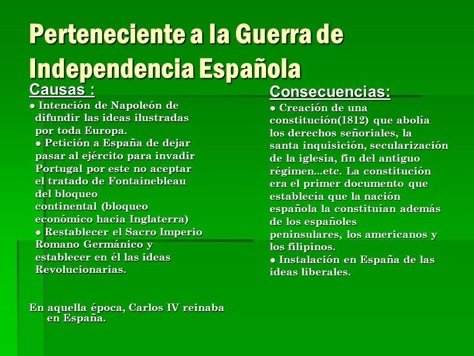 Perteneciente a la Guerra de Independencia Española