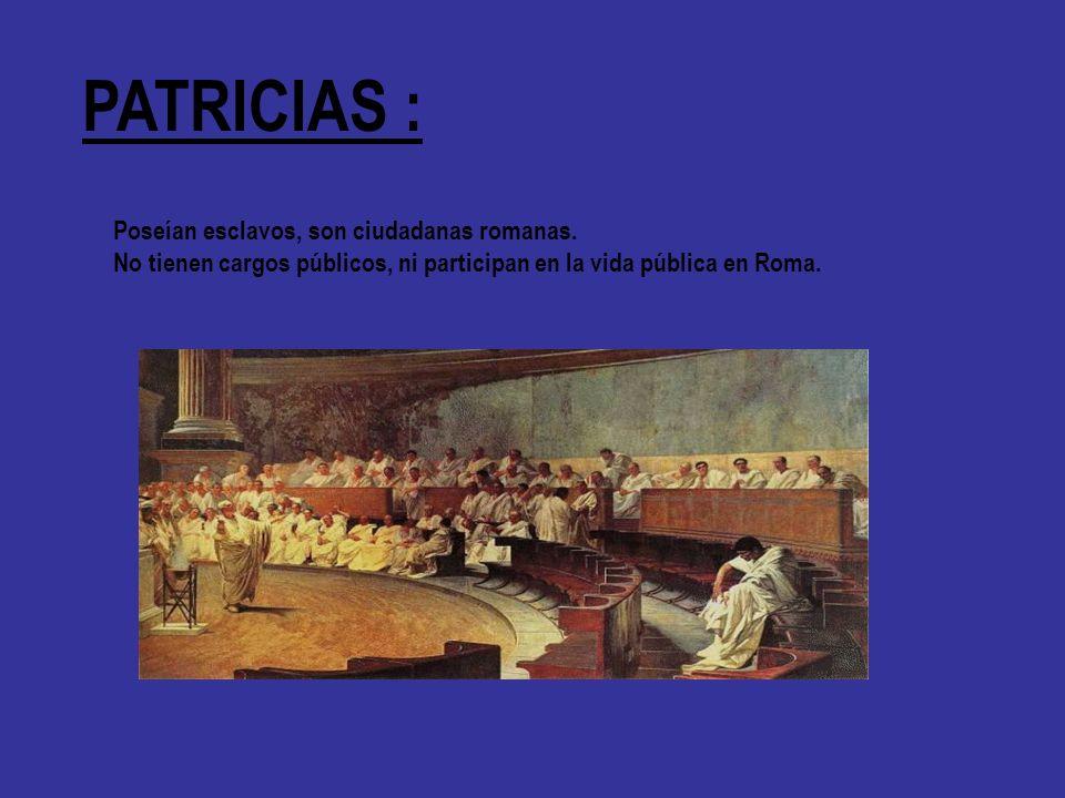 PATRICIAS : Poseían esclavos, son ciudadanas romanas.