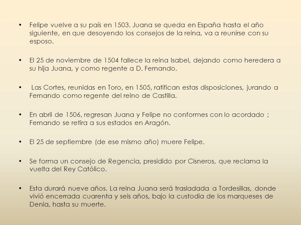 Felipe vuelve a su país en 1503
