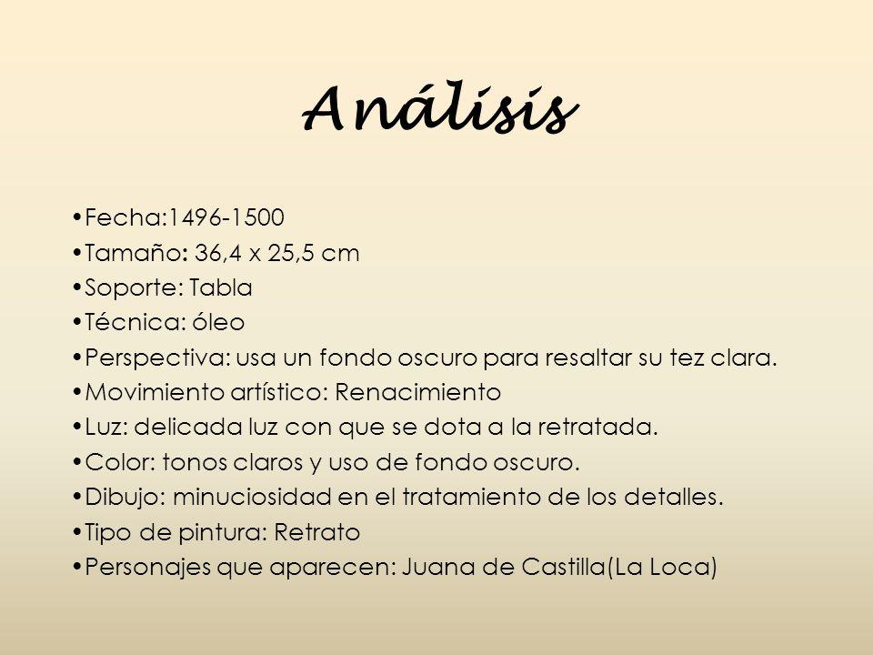 Análisis Fecha:1496-1500 Tamaño: 36,4 x 25,5 cm Soporte: Tabla
