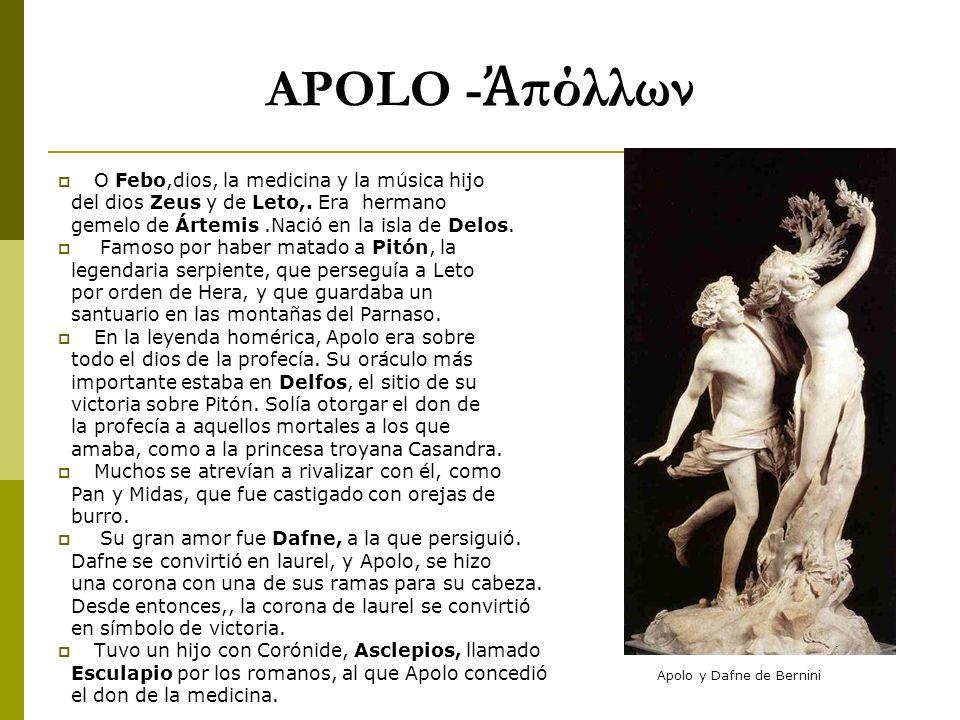 APOLO -Ἀπόλλων O Febo,dios, la medicina y la música hijo