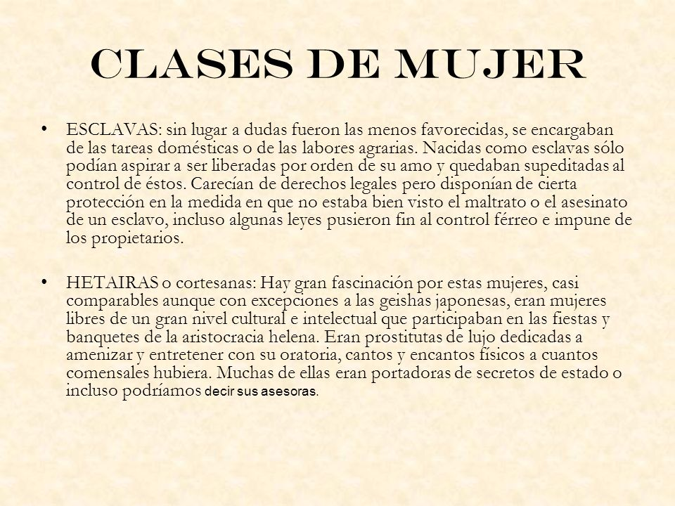 Clases de mujer