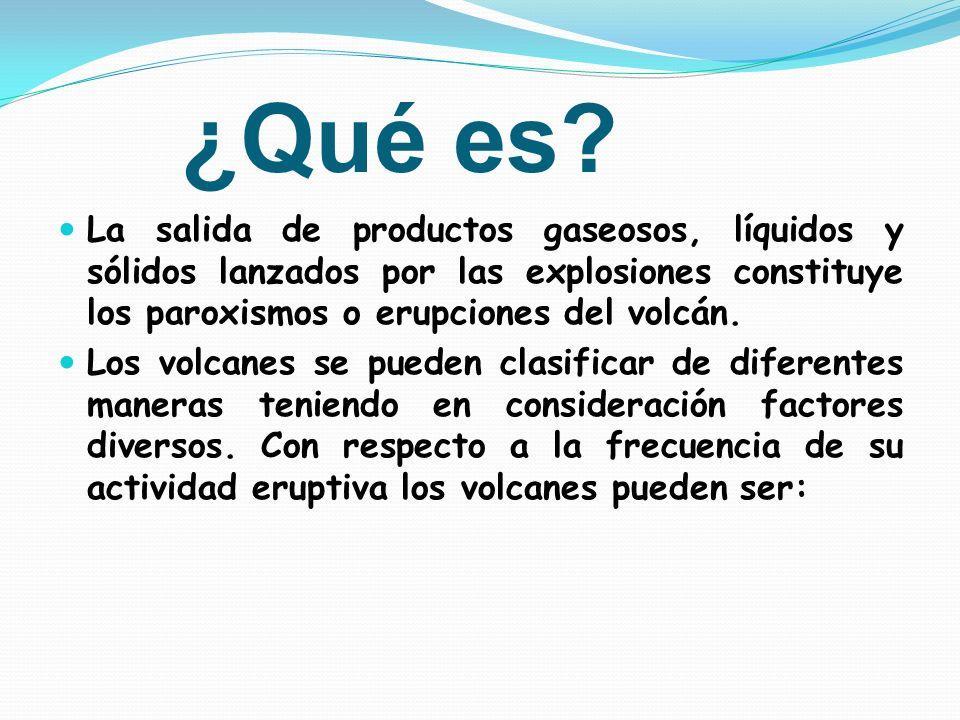¿Qué es La salida de productos gaseosos, líquidos y sólidos lanzados por las explosiones constituye los paroxismos o erupciones del volcán.
