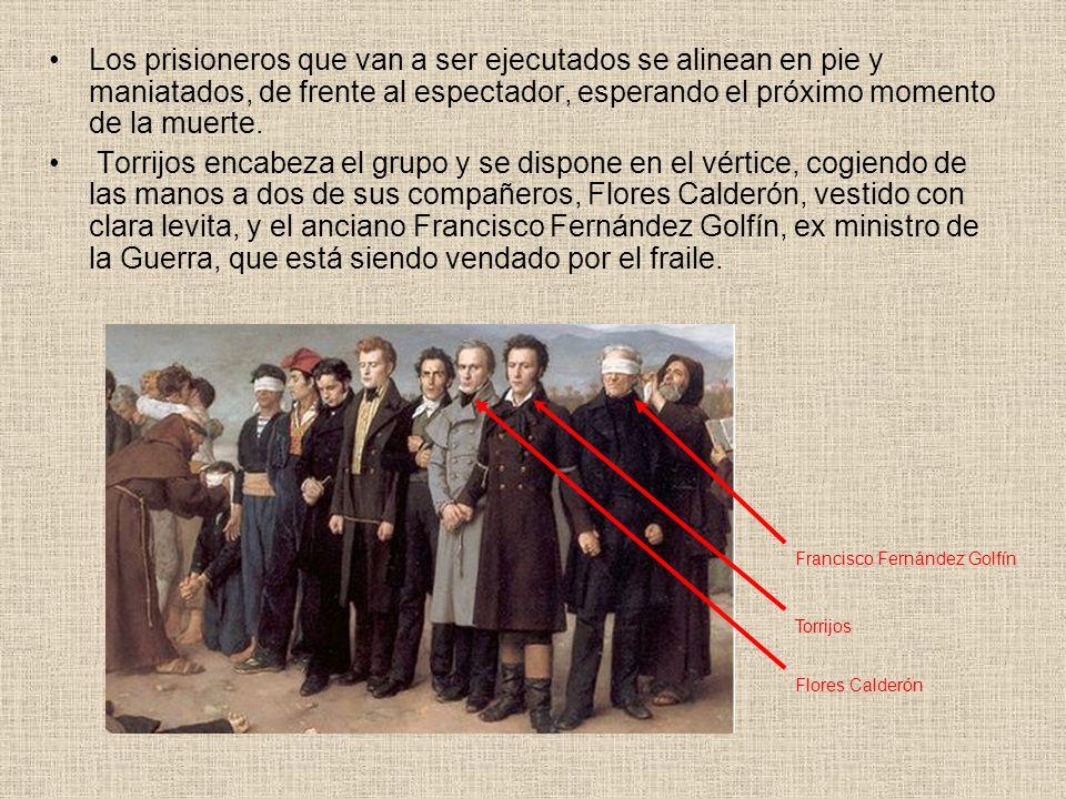 Los prisioneros que van a ser ejecutados se alinean en pie y maniatados, de frente al espectador, esperando el próximo momento de la muerte.