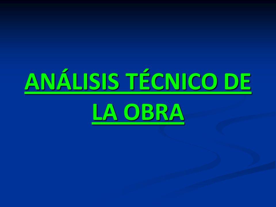 ANÁLISIS TÉCNICO DE LA OBRA