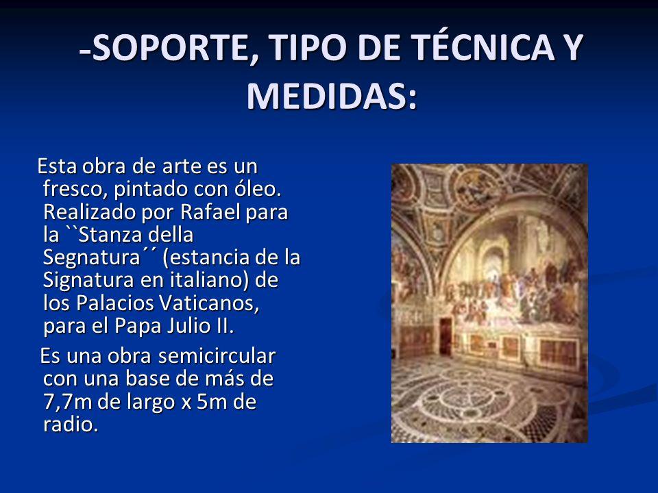 -SOPORTE, TIPO DE TÉCNICA Y MEDIDAS: