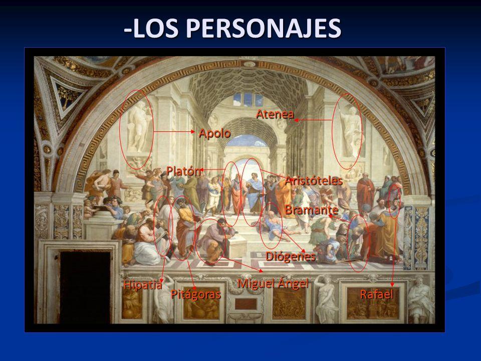 -LOS PERSONAJES Bramante Atenea Apolo Platón Aristóteles Diógenes