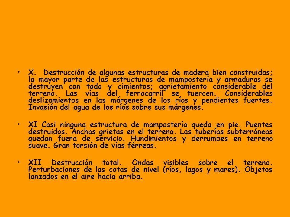 X. Destrucción de algunas estructuras de madera bien construidas; la mayor parte de las estructuras de mampostería y armaduras se destruyen con todo y cimientos; agrietamiento considerable del terreno. Las vías del ferrocarril se tuercen. Considerables deslizamientos en las márgenes de los ríos y pendientes fuertes. Invasión del agua de los ríos sobre sus márgenes.