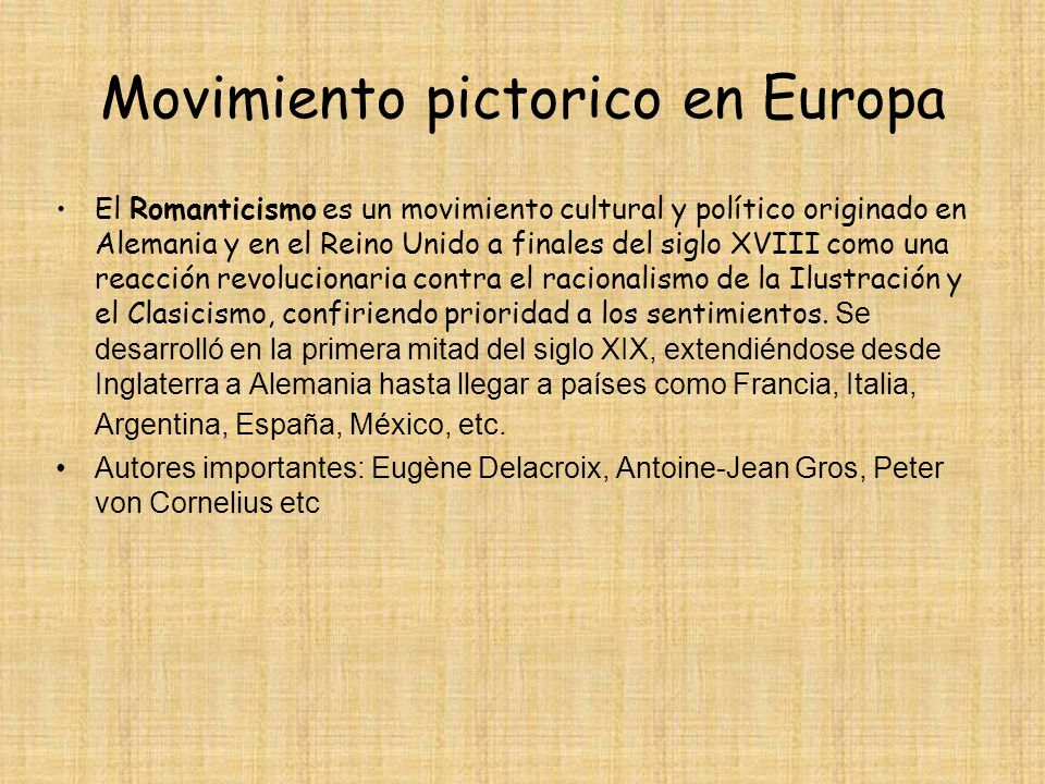 Movimiento pictorico en Europa