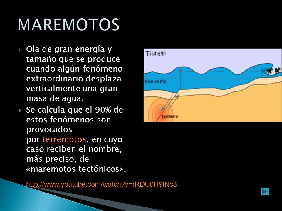 MAREMOTOS Ola de gran energía y tamaño que se produce cuando algún fenómeno extraordinario desplaza verticalmente una gran masa de agua.
