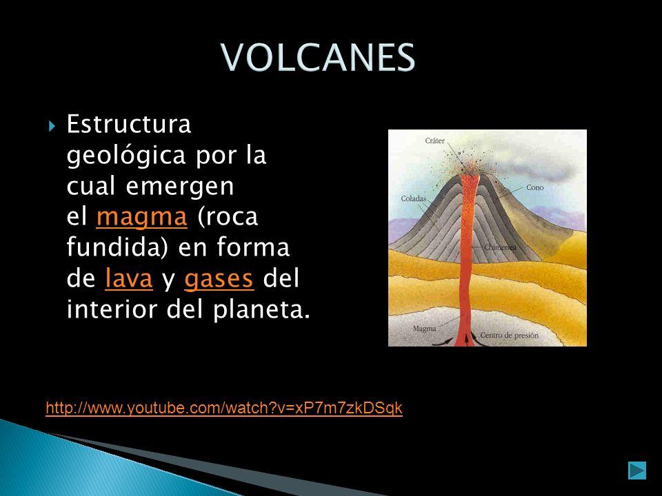 VOLCANES Estructura geológica por la cual emergen el magma (roca fundida) en forma de lava y gases del interior del planeta.