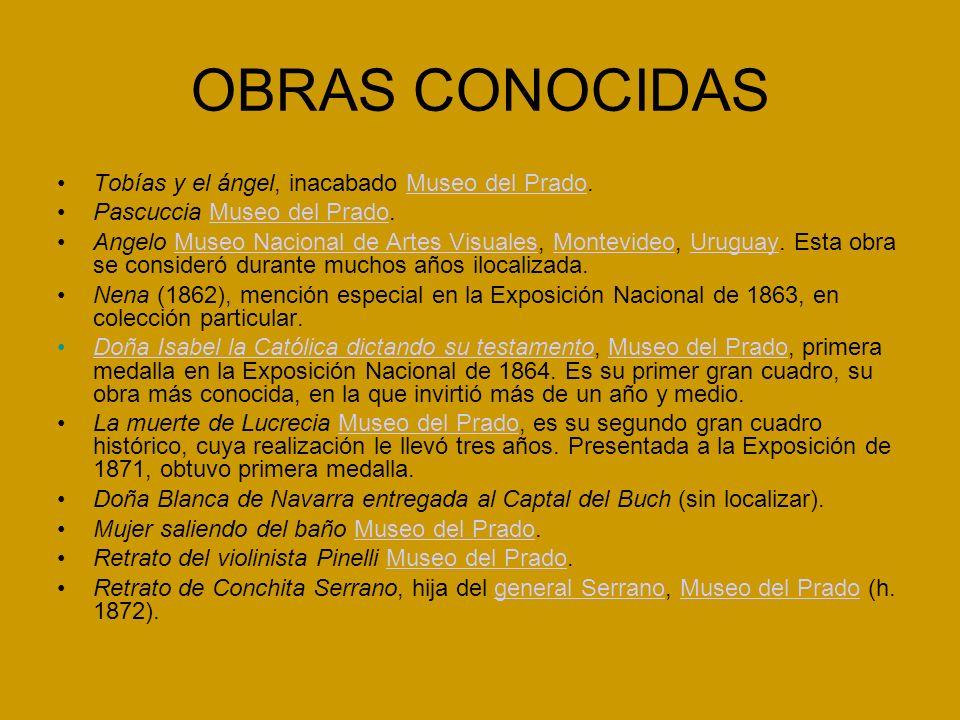 OBRAS CONOCIDAS Tobías y el ángel, inacabado Museo del Prado.