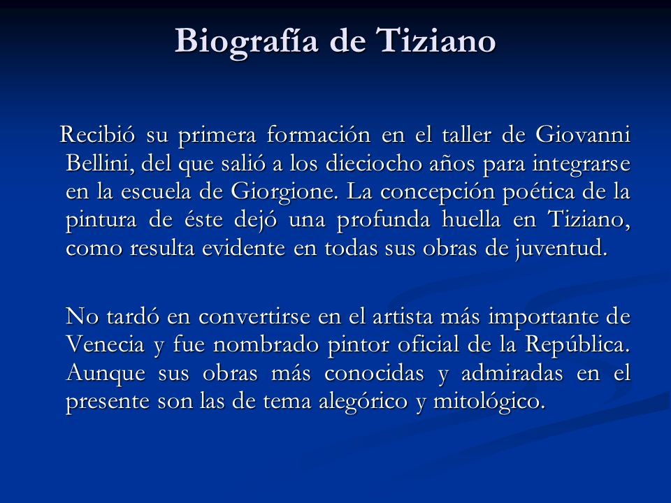 Biografía de Tiziano