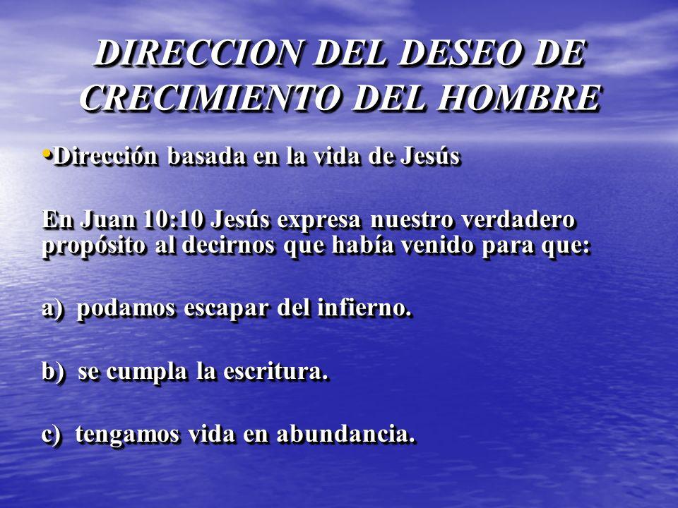 DIRECCION DEL DESEO DE CRECIMIENTO DEL HOMBRE