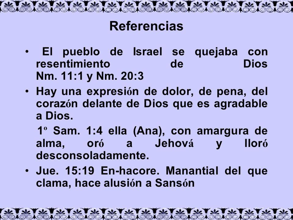 ReferenciasEl pueblo de Israel se quejaba con resentimiento de Dios Nm. 11:1 y Nm. 20:3.