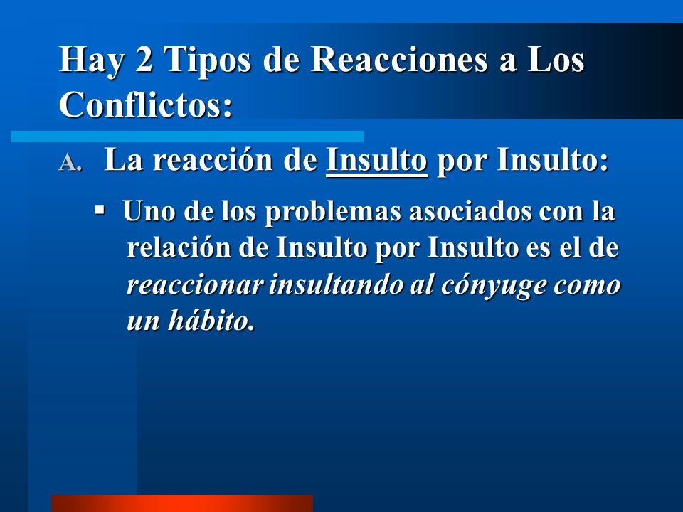 Hay 2 Tipos de Reacciones a Los Conflictos: