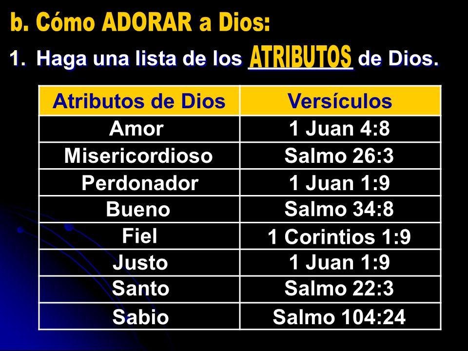 b. Cómo ADORAR a Dios: Haga una lista de los _________ de Dios.