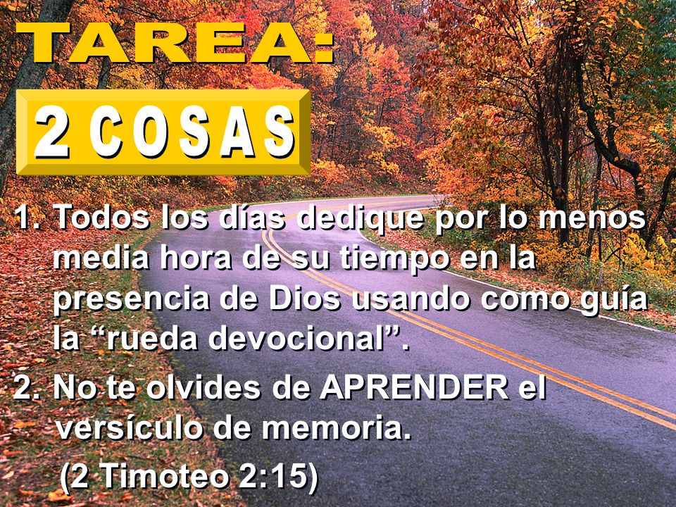 TAREA: 2. COSAS. Todos los días dedique por lo menos media hora de su tiempo en la presencia de Dios usando como guía la rueda devocional .