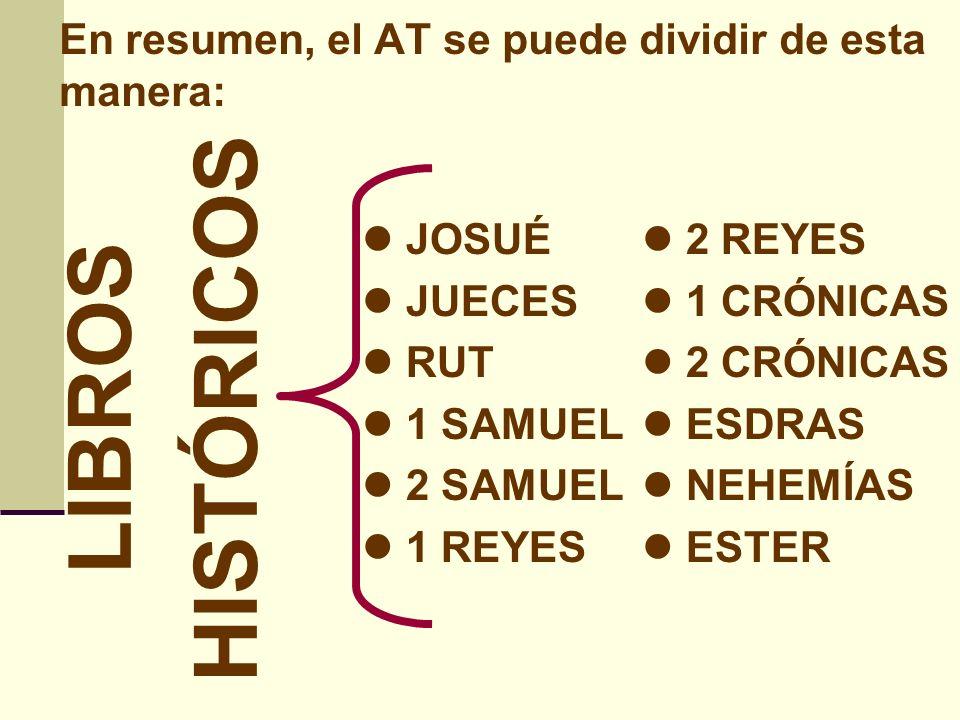 HISTÓRICOS LIBROS En resumen, el AT se puede dividir de esta manera: