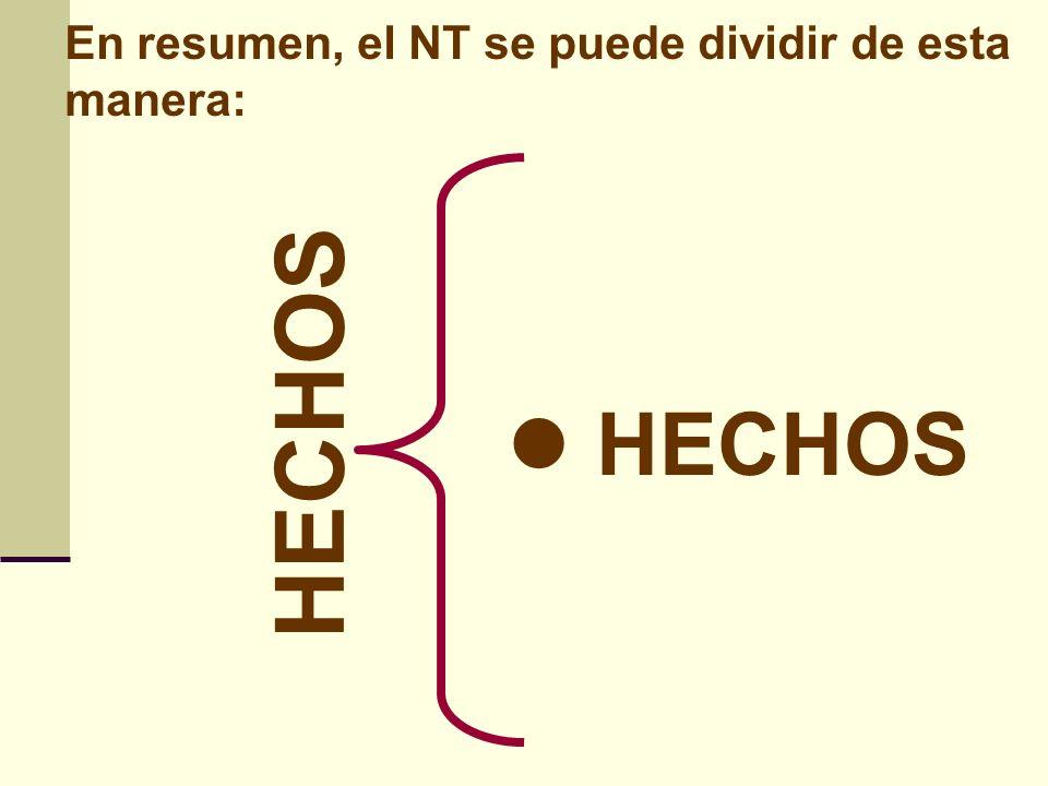 En resumen, el NT se puede dividir de esta manera: