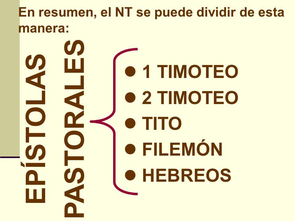 PASTORALES EPÍSTOLAS 1 TIMOTEO 2 TIMOTEO TITO FILEMÓN HEBREOS