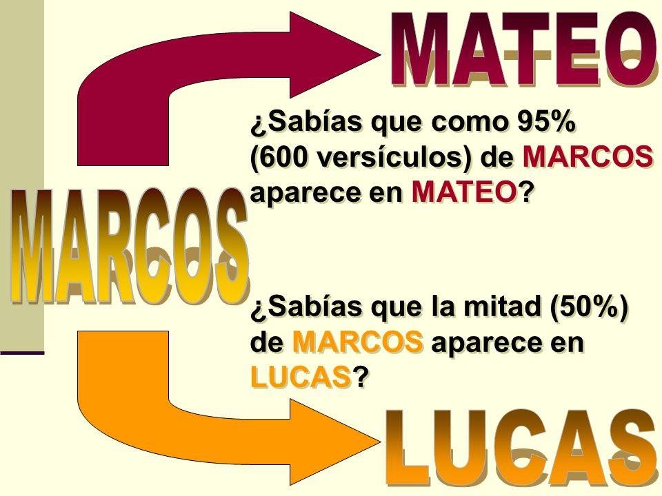 MATEO ¿Sabías que como 95% (600 versículos) de MARCOS aparece en MATEO MARCOS. ¿Sabías que la mitad (50%) de MARCOS aparece en LUCAS