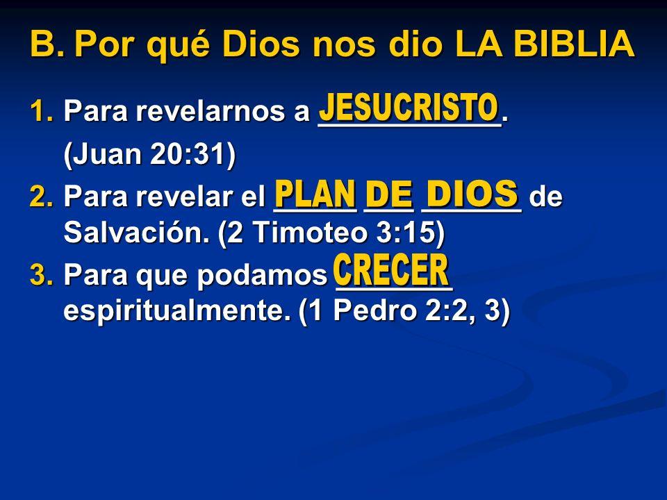 Por qué Dios nos dio LA BIBLIA
