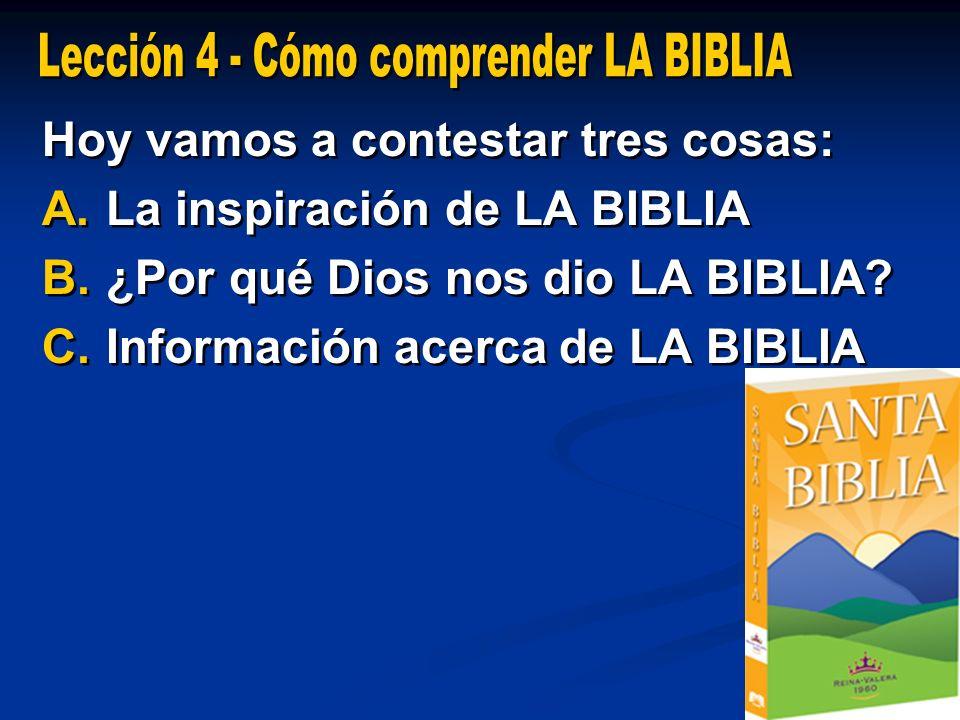 Lección 4 - Cómo comprender LA BIBLIA