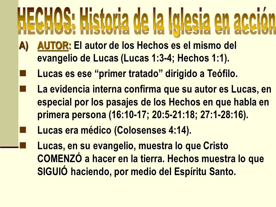 HECHOS: Historia de la Iglesia en acción