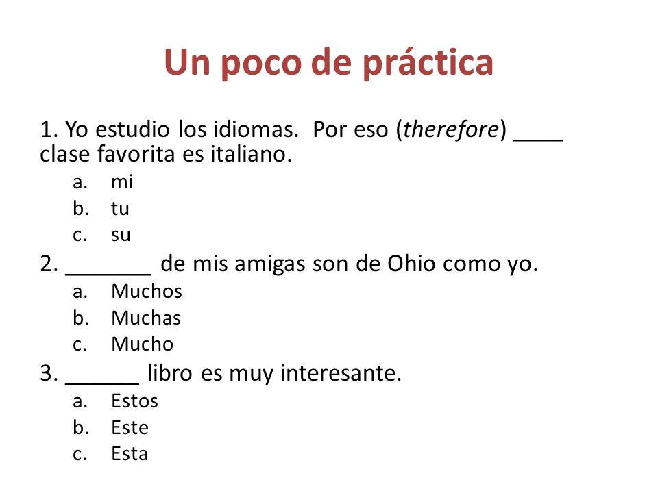 Un poco de práctica 1. Yo estudio los idiomas. Por eso (therefore) ____ clase favorita es italiano.