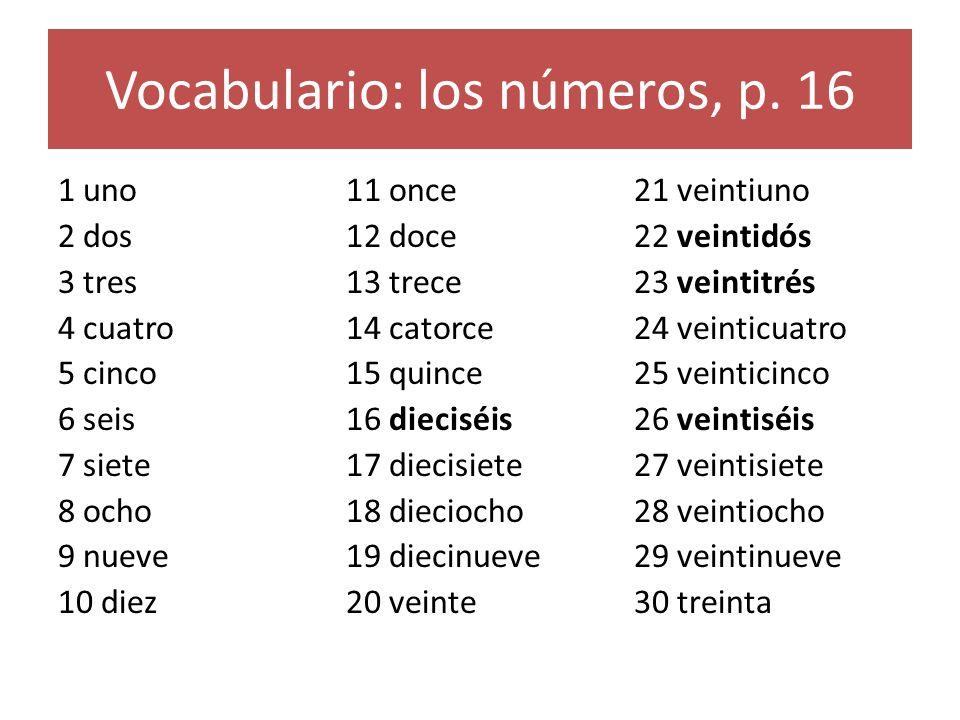 Vocabulario: los números, p. 16