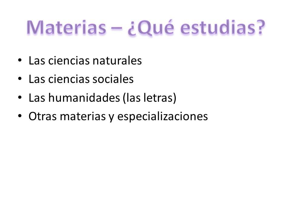 Materias – ¿Qué estudias