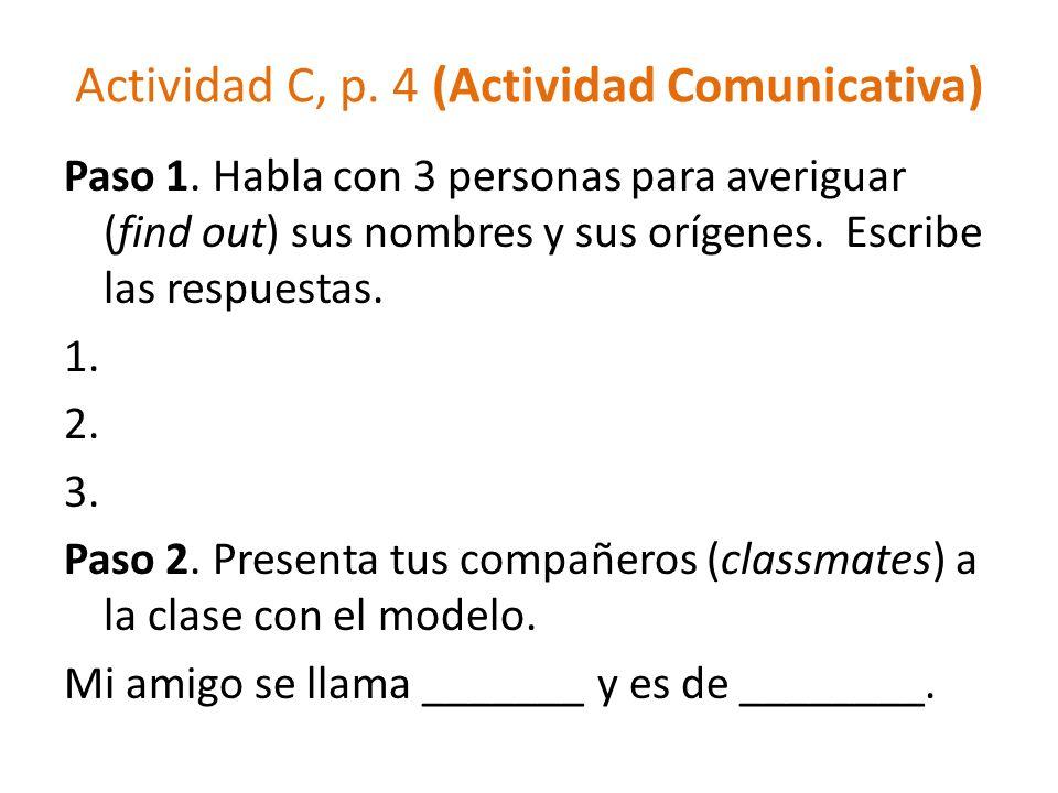 Actividad C, p. 4 (Actividad Comunicativa)