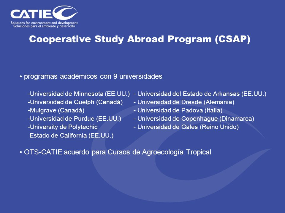 Cooperative Study Abroad Program (CSAP)
