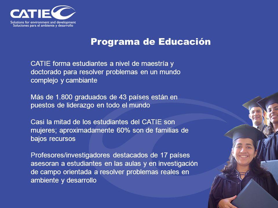 Programa de Educación CATIE forma estudiantes a nivel de maestría y doctorado para resolver problemas en un mundo complejo y cambiante.
