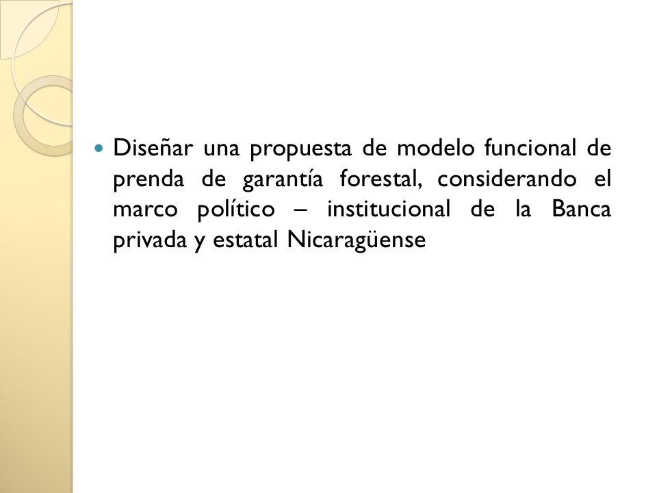 Diseñar una propuesta de modelo funcional de prenda de garantía forestal, considerando el marco político – institucional de la Banca privada y estatal Nicaragüense