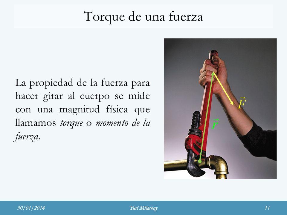 Torque de una fuerzaLa propiedad de la fuerza para hacer girar al cuerpo se mide con una magnitud física que llamamos torque o momento de la fuerza.