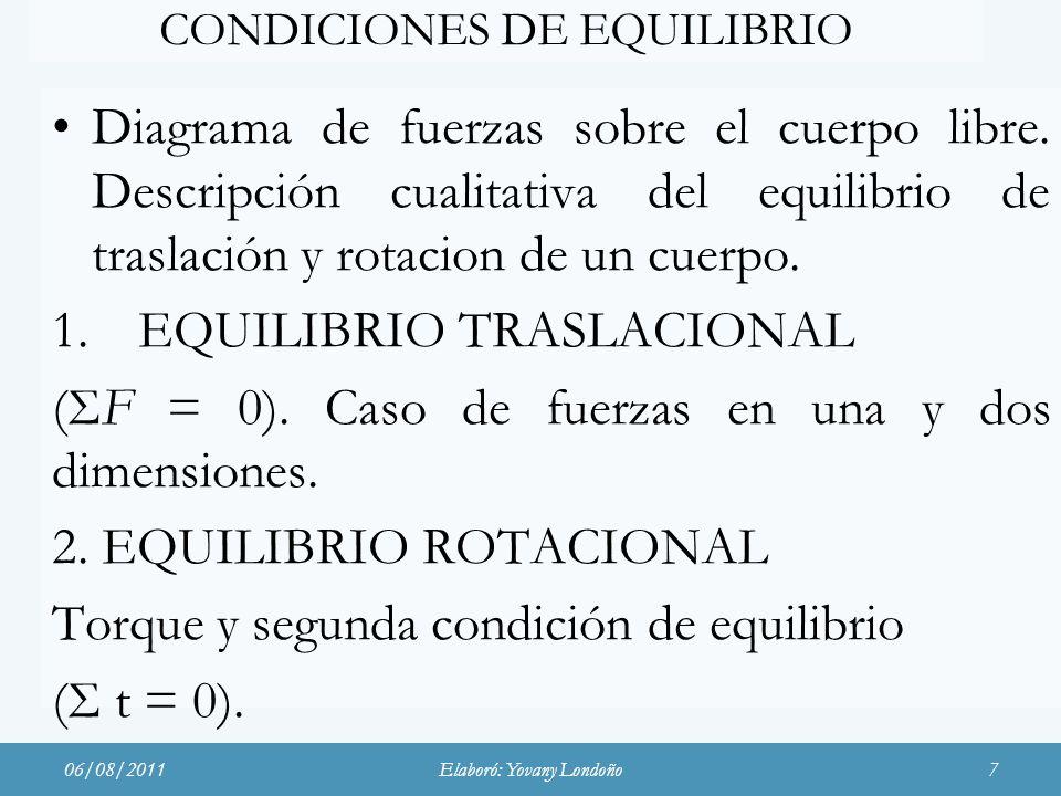 CONDICIONES DE EQUILIBRIO
