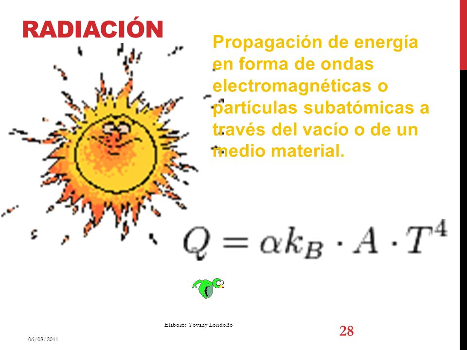 Radiación Propagación de energía en forma de ondas electromagnéticas o partículas subatómicas a través del vacío o de un medio material.