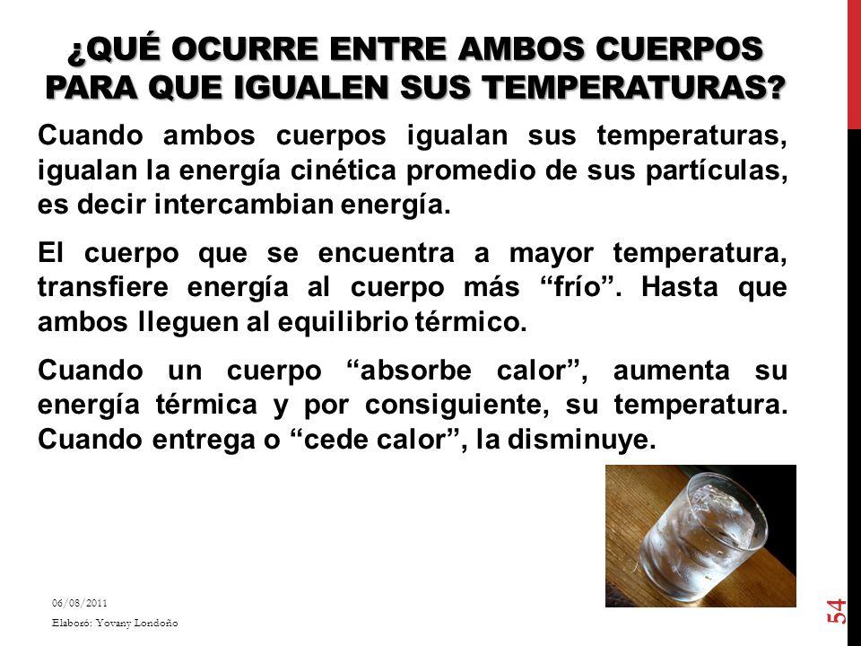 ¿Qué ocurre entre ambos cuerpos para que igualen sus temperaturas