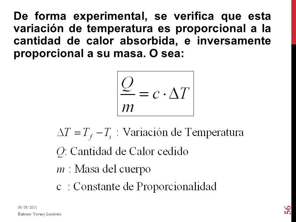 De forma experimental, se verifica que esta variación de temperatura es proporcional a la cantidad de calor absorbida, e inversamente proporcional a su masa. O sea: