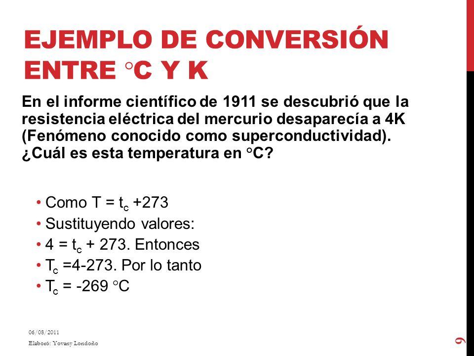 Ejemplo de conversión entre °C y K