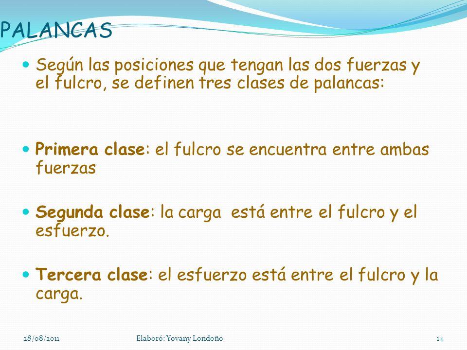 PALANCAS Según las posiciones que tengan las dos fuerzas y el fulcro, se definen tres clases de palancas: