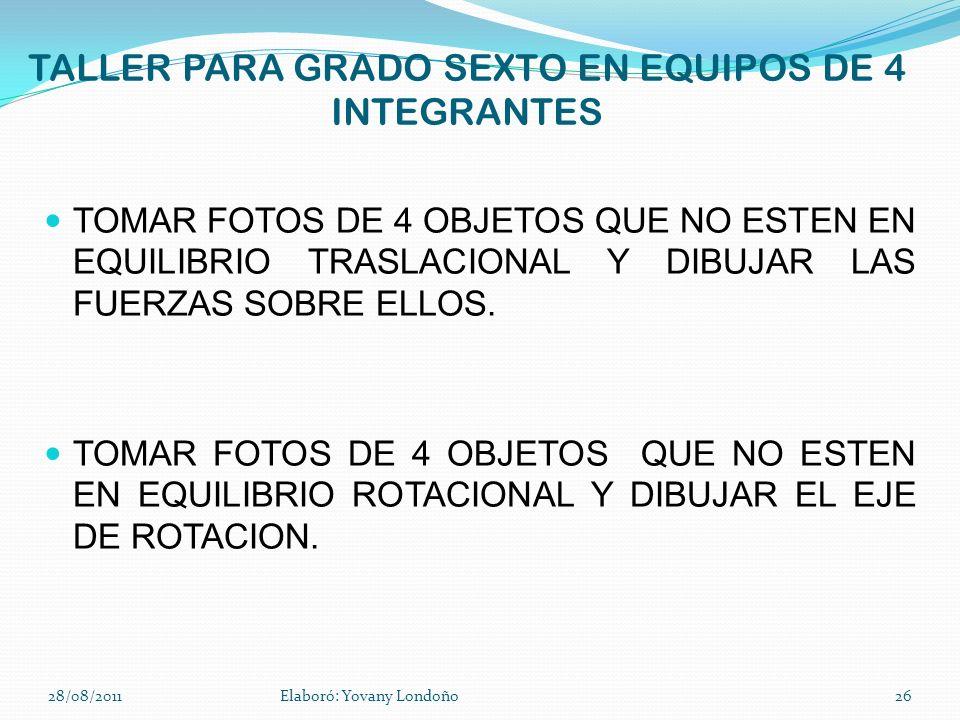 TALLER PARA GRADO SEXTO EN EQUIPOS DE 4 INTEGRANTES