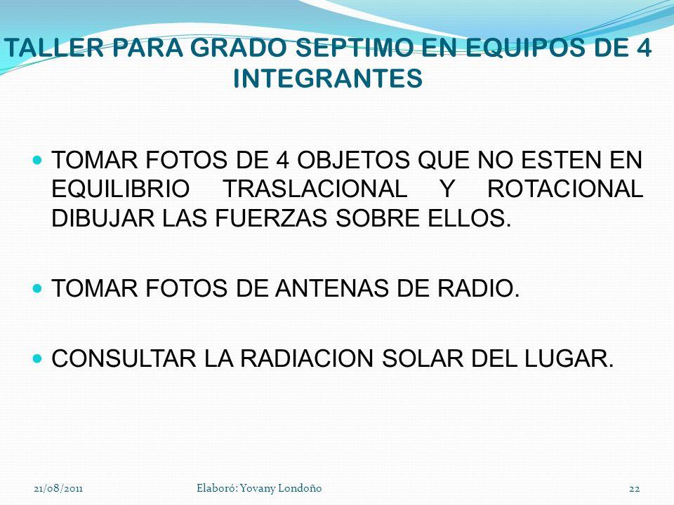 TALLER PARA GRADO SEPTIMO EN EQUIPOS DE 4 INTEGRANTES