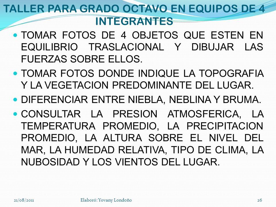 TALLER PARA GRADO OCTAVO EN EQUIPOS DE 4 INTEGRANTES