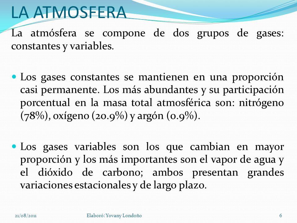 LA ATMOSFERALa atmósfera se compone de dos grupos de gases: constantes y variables.