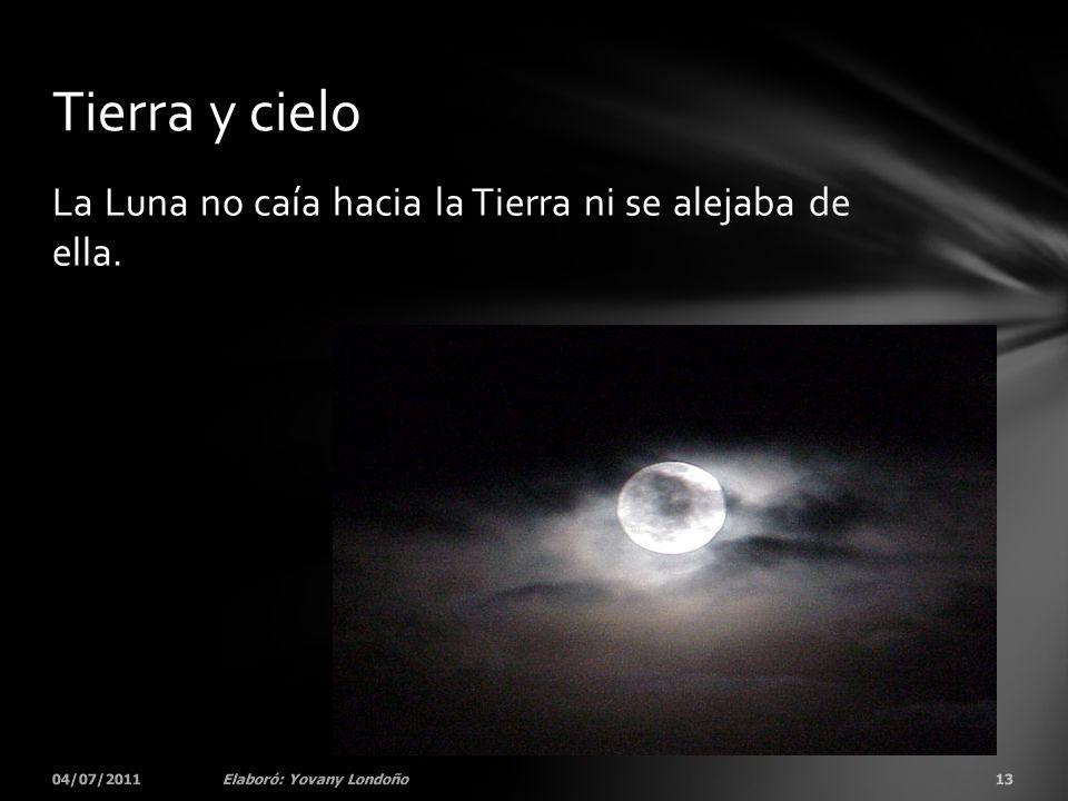 Tierra y cielo La Luna no caía hacia la Tierra ni se alejaba de ella.